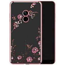 Чехол накладка силиконовый TPU Luxury Flower для Xiaomi Mi Mix розовый