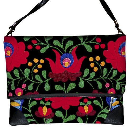 Черная женская сумка через плечо Красная роспись