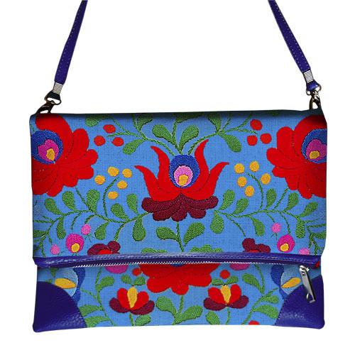 Голубая женская сумка с орнаментом Цветы