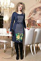 Женское синее платье с принтом 2023  Seventeen  52-58  размеры