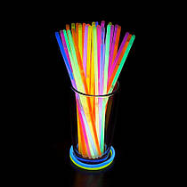Неоновые браслеты светящиеся, неоновые палочки 100 штук