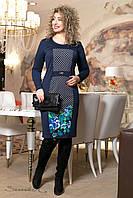 Синее трикотажное  платье с принтом 2019  Seventeen  52-58  размеры