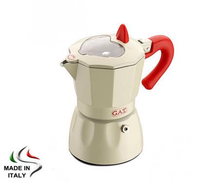 Гейзерная кофеварка на 6 чашек GAT ROSSANA, (Италия), белая