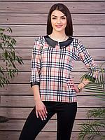 Клетчастая блуза кофта бежевая