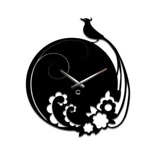 Часы На Стену (40смх35см) Peacock Черные [Акрил, Открытые]