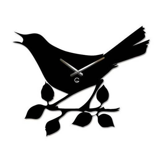 Часы На Стену (34смх42см) Bird Черные [Акрил, Открытые]