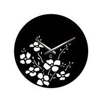 Часы На Стену (35смх35см) Bouquet Черные [Акрил, Открытые]