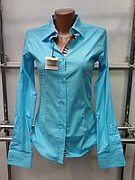 Рубашка женская (реплика) Burberry бирюзового цвета