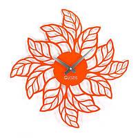 Эксклюзивные настенные часы металлические Glozis-B-010 Leaves оранжевые (50х50см) [Металл, Открытые, Цвета]