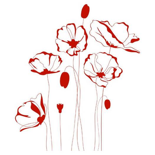 Наклейка интерьерная виниловая (100х110 см, варианты цветов) Red Flowers