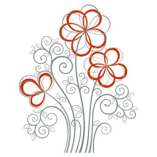 Наклейка интерьерная виниловая (100х100 см, варианты цветов) Flowers