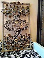 """Декоративное панно на стену из кожи и ткани ручной работы  """"Мировое дерево"""""""