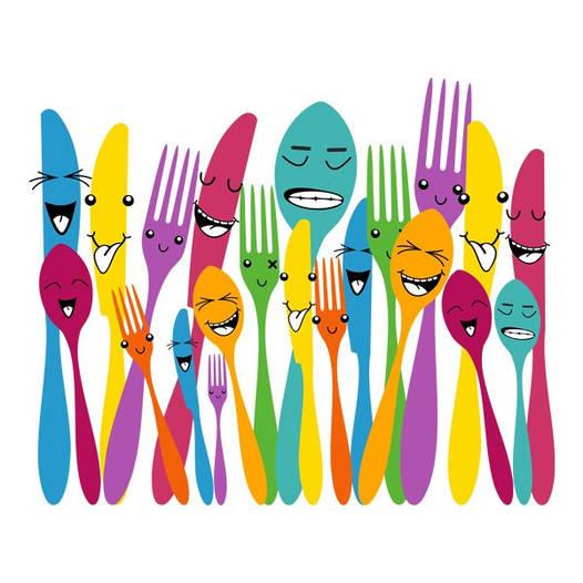 Наклейка интерьерная виниловая (60х50 см) Spoon and Forks