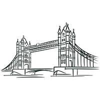Наклейка интерьерная виниловая (190х100 см, варианты цветов) London Bridge