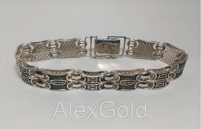 267415b94f47 Необычный серебряный браслет мужской Cartier - AlexGold в Запорожье