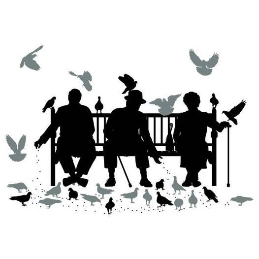 Наклейка интерьерная виниловая (190х130 см, варианты цветов) Trio on the Bench