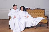 Плед с рукавами для двоих из микрофибры Белый 290*180 см