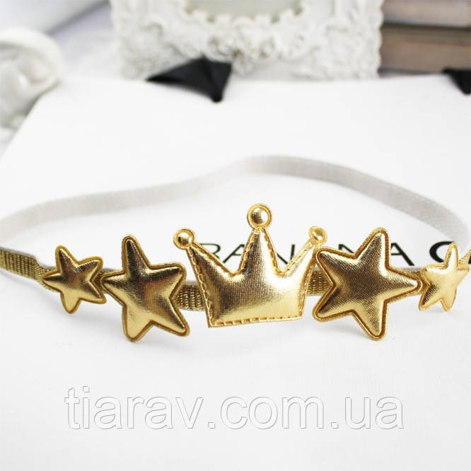 Повязка корона в звездах серебристая ободок для волос