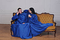 Плед с рукавами для двоих из микрофибры Синий 290*180 см