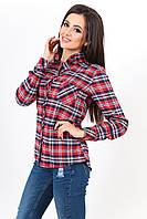 Рубашка женская из теплой байки. Клетка разные цвета.