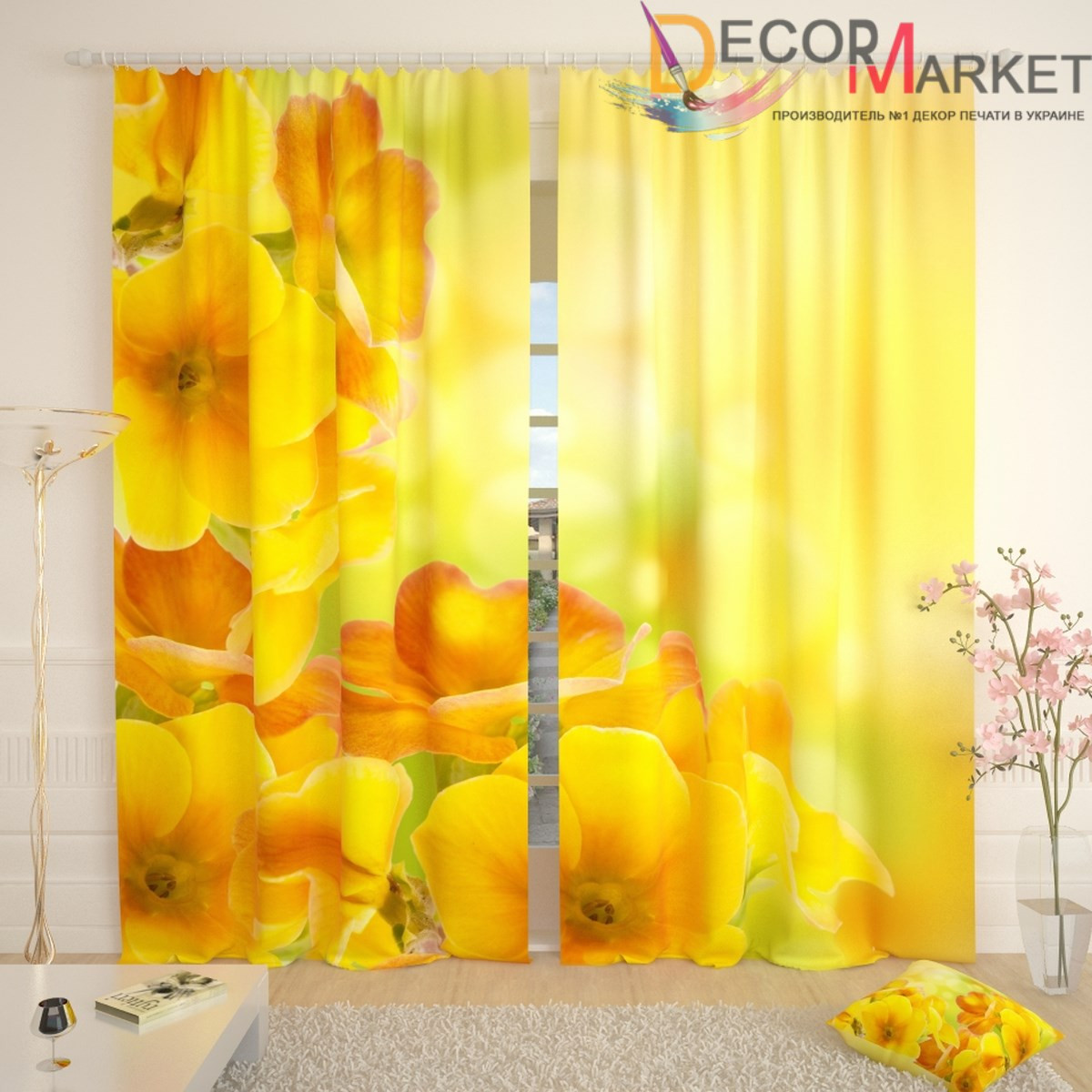 Фотошторы желтые цветы
