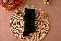 Носки HUF plantlife, чёрные с зеленым листом конопли Д16