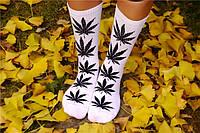 Носки HUF plantlife, белые с чёрным листом конопли Д06
