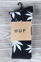 Носки HUF plantlife, черные с белым листом конопли Д19