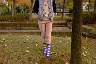 Носки HUF plantlife, фиолетовые с белым листом конопли Д31