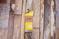 Носки HUF plantlife, жёлтые с белым листом конопли Д09