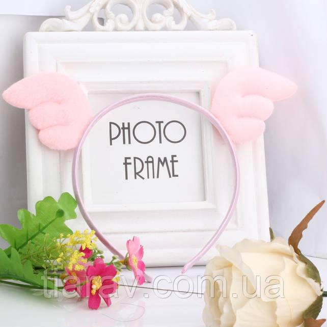 Обруч детский крылышки ангелочка бледно - розовый украшения для волос детские украшения для волос