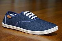 Мокасины слипоны джинсовые мужские стильные на шнурках синие, фото 1