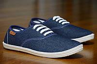 Мокасины слипоны джинсовые мужские стильные на шнурках синие 2017