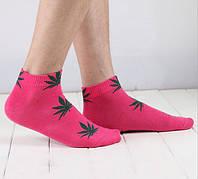 Носки HUF plantlife, розовые с зелёным листом конопли К14