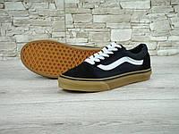 Кеды в стиле Vans Old Skool, черные на коричневой, фото 1