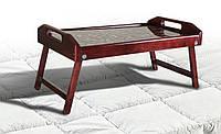 Столик для завтрака - стекло Кофе (Ольха) 55х35х25 см. орех