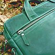 "Кожаная сумка для ноутбука 15"" Babak 645077 зеленая, фото 2"