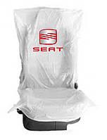 Чехлы накидки на  сидения  400 шт. полиэтиленовые,  одноразовые  с логотипом  SEAT