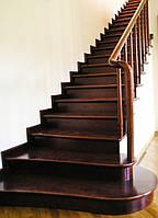 Маршевая деревянная лестница закрытая прямая с балюстрадой