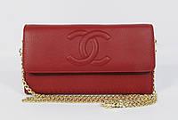 Клатч женский кожаный Chanel 1137 бордовый на цепочке