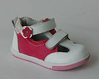 Детские кожаные ортопедические туфли для девочек Calorie р.22,24,25,26 малиново-белые