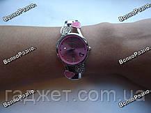 Женские часы с сердечками розового цвета., фото 2