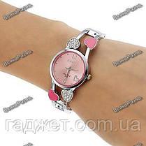 Женские часы с сердечками розового цвета., фото 3