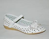 Школьные летние туфли для девочек р.32,34,35,36,37 с кожаной ортопедической стелькой, белые