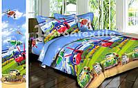 """Детский хлопковый комплект постельного белья для мальчика """"Самолётик""""."""