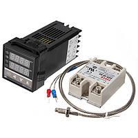 Цифровой ПИД-регулятор температуры REX-C100 + термопара + твердотельное реле SSR-40DA