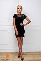 Женское стильное бархатное платье со ставкой сетки, фото 1