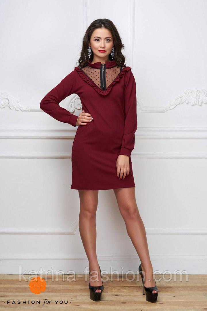 Женское стильное платье с сеткой (расцветки)