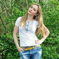 """Жіноча футболка з вишивкой """"Геометрія блакитна"""" 42-52 рр"""