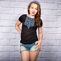 """Жіноча футболка з вишивкой """"Геометрія блакитна"""" на чорному фоні  42-52 рр"""